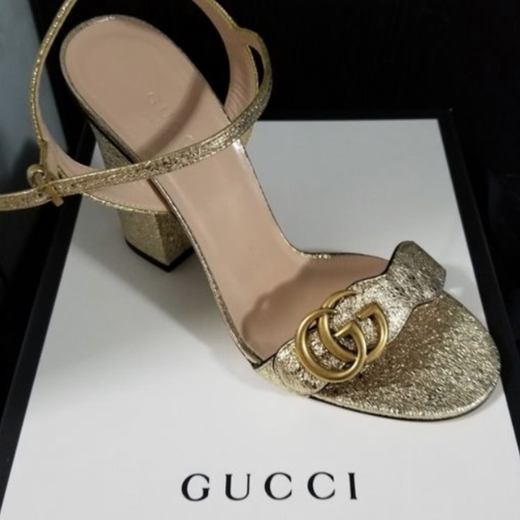 92128f9915d85 Gucci women s Marmont metallic open toe Sandals